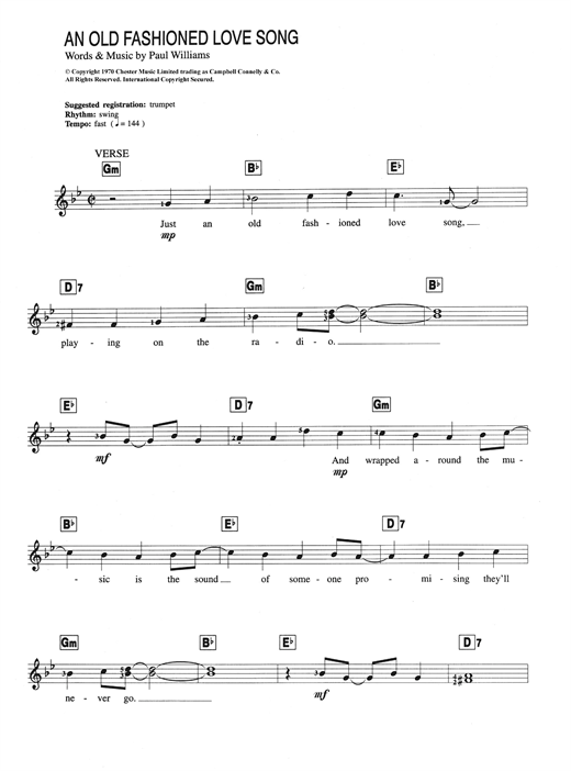 An Old Fashioned Love Song Sheet Music