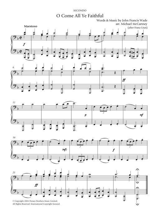 Partition piano O Come All Ye Faithful de Christmas Carol - 4 mains
