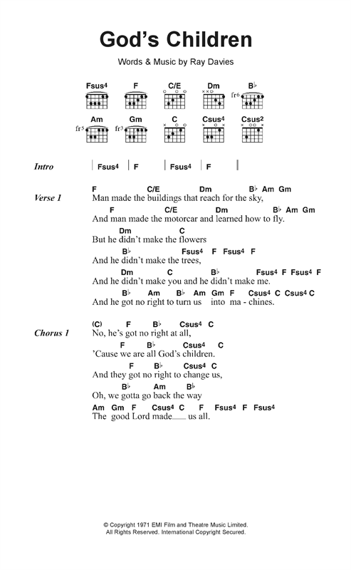 God's Children Sheet Music