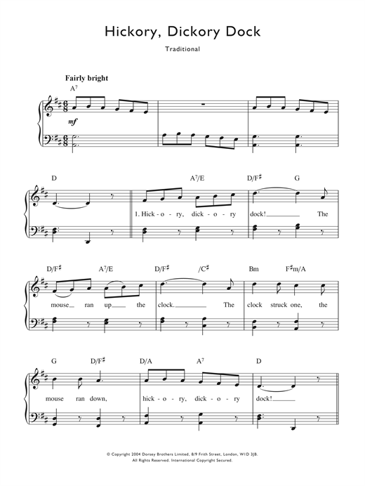 Hickory Dickory Dock Sheet Music