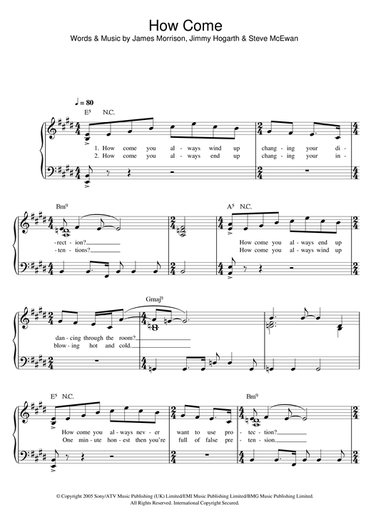 Partition piano How Come de James Morrison - Piano Facile
