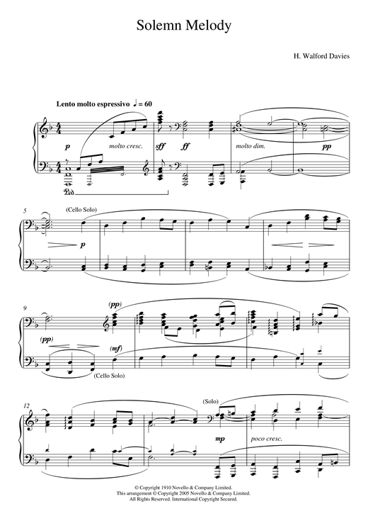 Solemn Melody Sheet Music