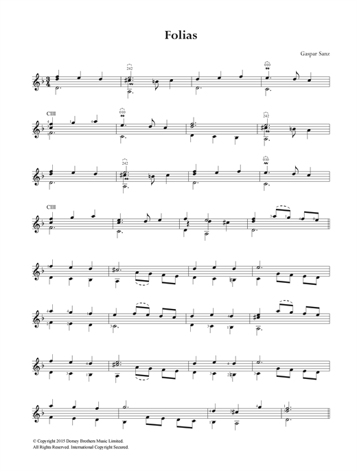 Tablature guitare Folias de Gaspar Sanz - Guitare Classique