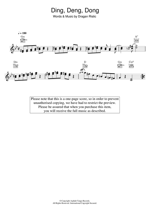 Ding, Deng, Dong Sheet Music
