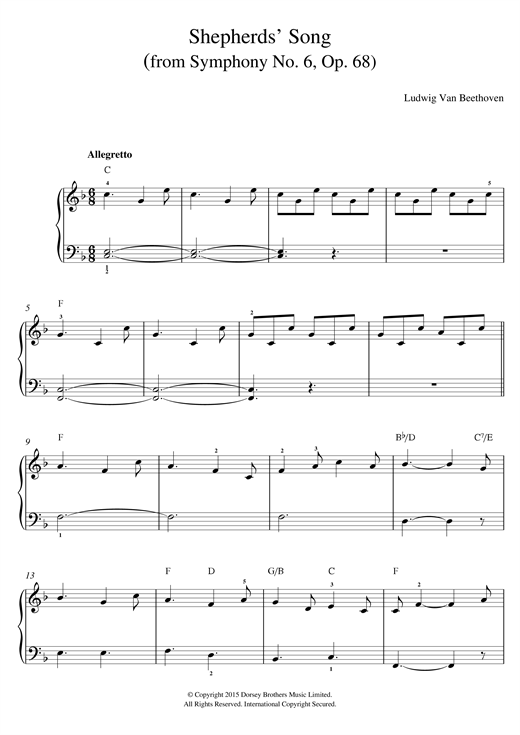 Shepherds' Song (from Symphony No. 6, Op. 68) Sheet Music