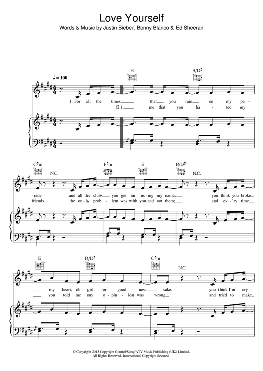 Love Yourself sheet music by Justin Bieber (Piano, Vocal u0026 Guitar (Right-Hand Melody) u2013 122651)