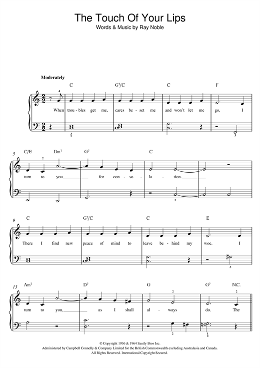 The Touch Of Your Lips Sheet Music