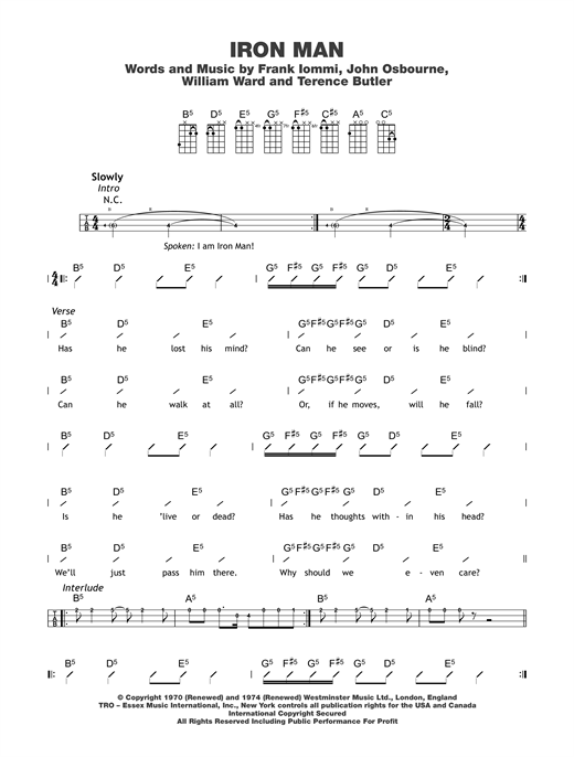 Iron Man sheet music by Black Sabbath (Ukulele with strumming patterns u2013 122684)