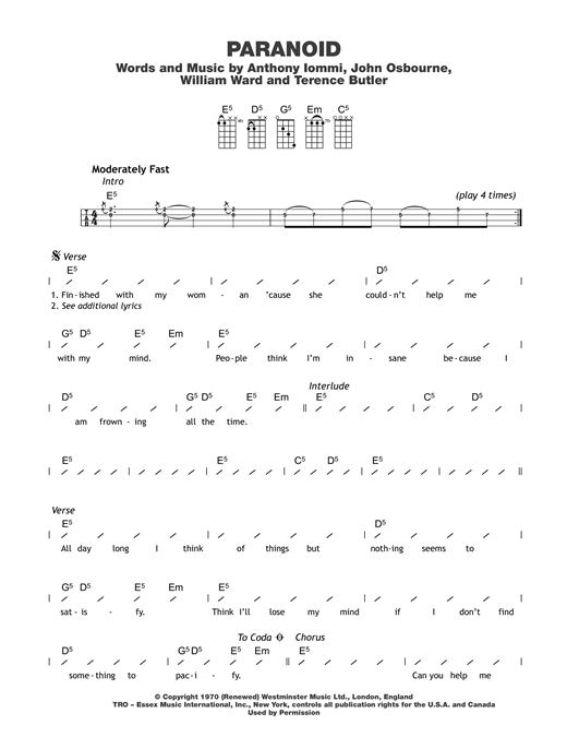 Tablature guitare Paranoid de Black Sabbath - Ukulele (strumming patterns)