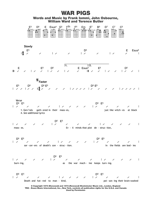 War Pigs Sheet Music