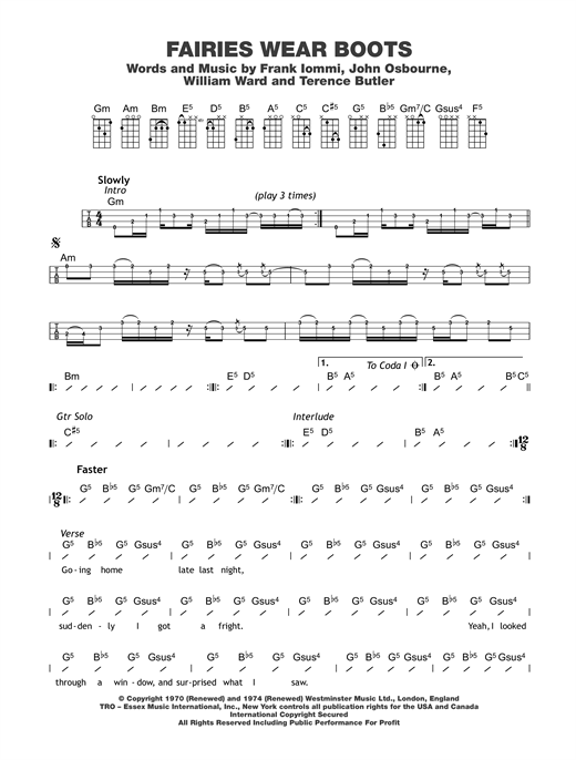 Tablature guitare Fairies Wear Boots de Black Sabbath - Ukulele (strumming patterns)