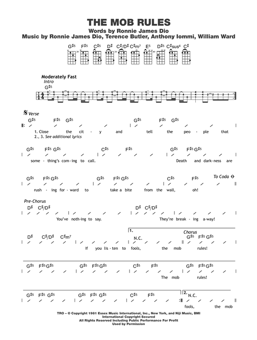 The Mob Rules Sheet Music