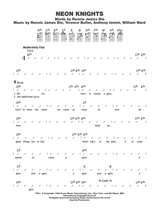 Neon Knights Sheet Music