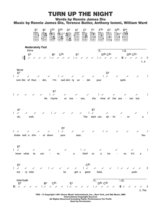 Tablature guitare Turn Up The Night de Black Sabbath - Ukulele (strumming patterns)
