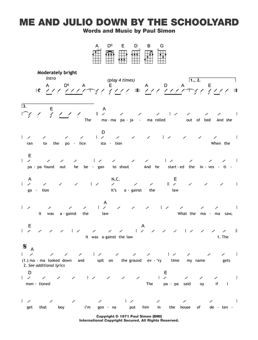 Tablature guitare Me And Julio Down By The Schoolyard de Paul Simon - Ukulele (strumming patterns)