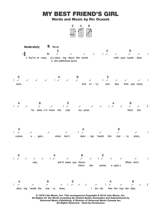 Tablature guitare My Best Friend's Girl de The Cars - Ukulele (strumming patterns)