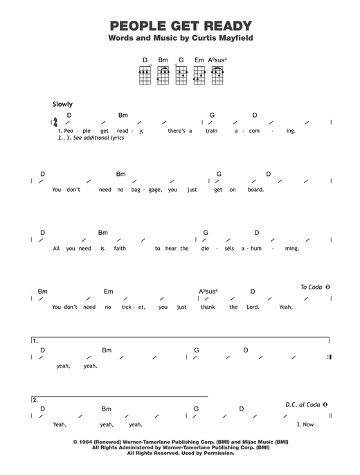Tablature guitare People Get Ready de Curtis Mayfield - Ukulele (strumming patterns)