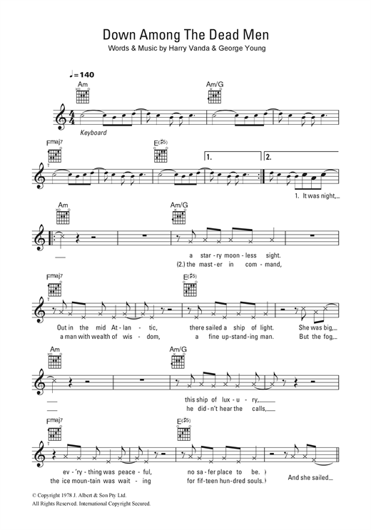 Down Among The Dead Men Sheet Music