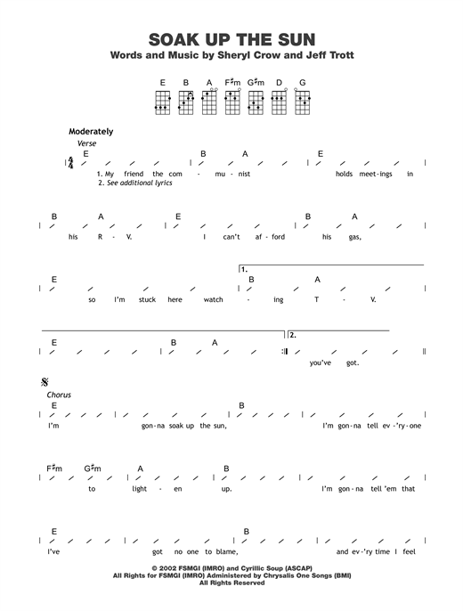 Tablature guitare Soak Up The Sun de Sheryl Crow - Ukulele (strumming patterns)