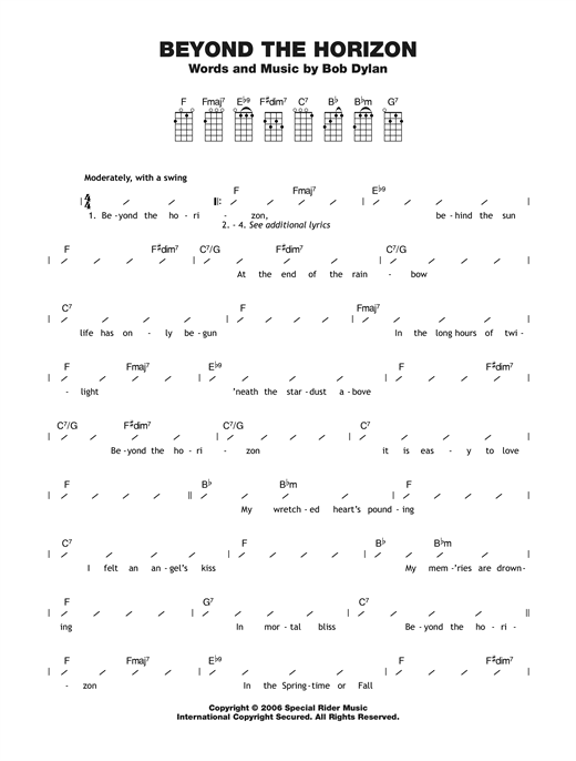 Tablature guitare Beyond The Horizon de Bob Dylan - Ukulele (strumming patterns)