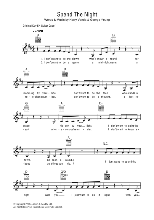 Spend The Night Sheet Music