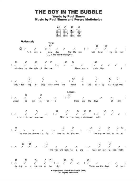 Tablature guitare The Boy In The Bubble de Paul Simon - Ukulele (strumming patterns)