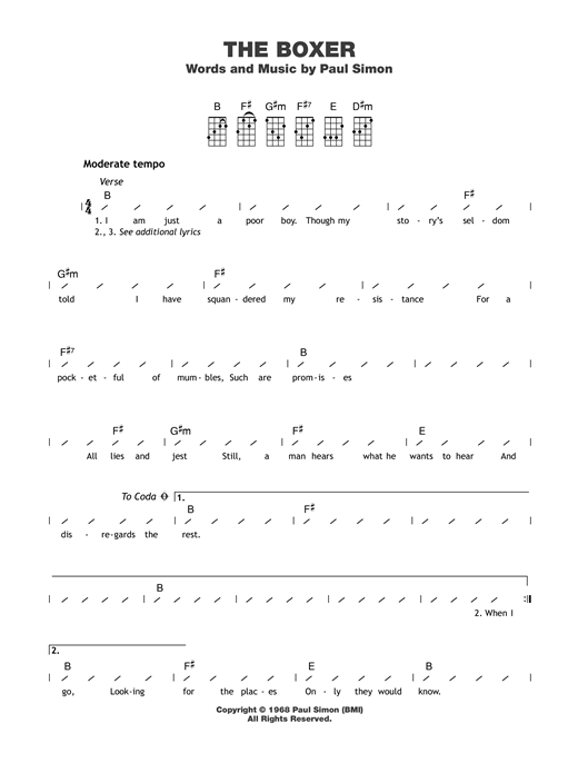 The Boxer guitar tab by Simon & Garfunkel - Ukulele (strumming patterns)