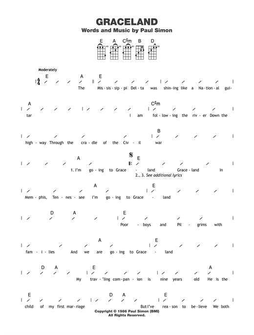 Graceland guitar tab by Paul Simon - Ukulele (strumming patterns)
