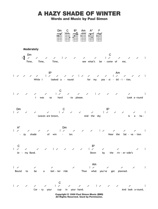 A Hazy Shade Of Winter Sheet Music