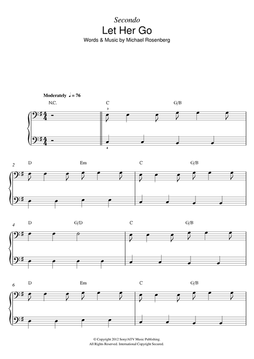 Let Her Go sheet music by Passenger (Piano Duet – 122771)