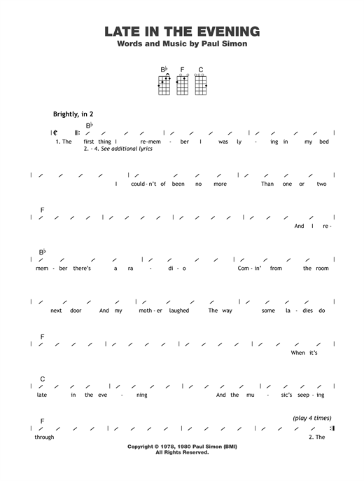 Tablature guitare Late In The Evening de Paul Simon - Ukulele (strumming patterns)