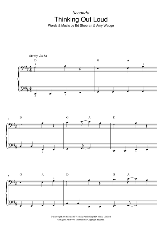 Thinking Out Loud sheet music by Ed Sheeran (Piano Duet u2013 122779)