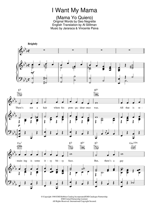 I Want My Mama (Mama Yo Quiero) Sheet Music