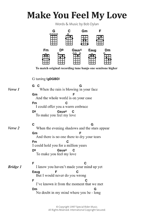 Banjo banjo ukulele chords : Make You Feel My Love sheet music by Bob Dylan (Banjo Lyrics ...