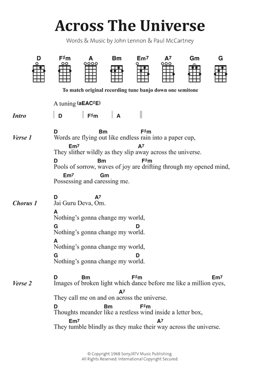 Across The Universe sheet music by The Beatles (Banjo Lyrics ...
