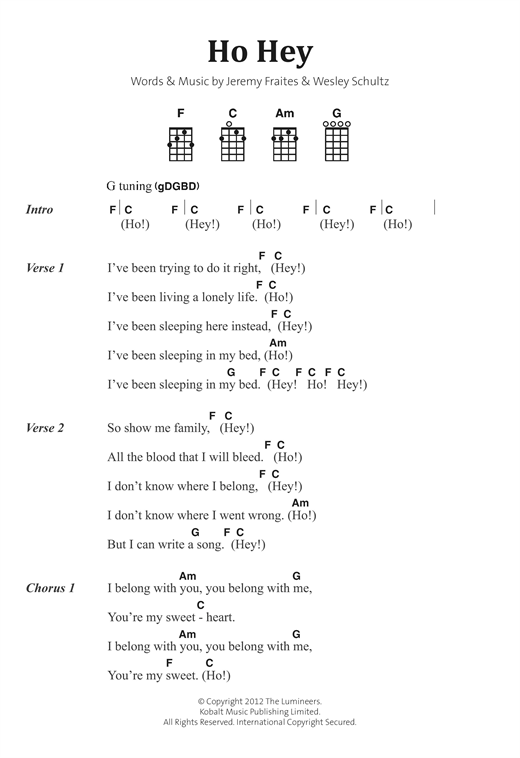 Ho Hey Sheet Music By The Lumineers Banjo Lyrics Chords 122878