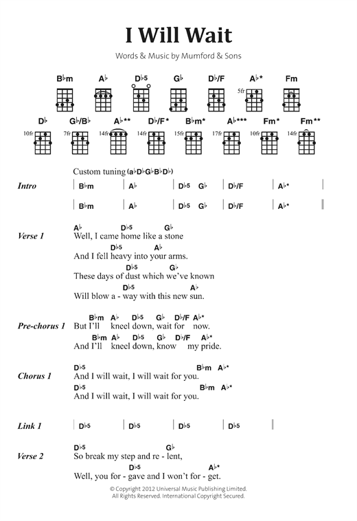 I Will Wait sheet music by Mumford u0026 Sons (Banjo Lyrics u0026 Chords u2013 122879)