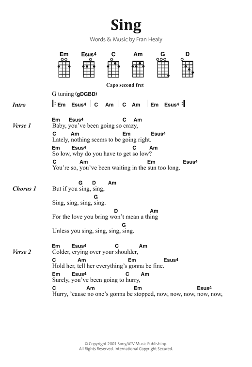 Sing Sheet Music By Travis Banjo Lyrics Chords 122887