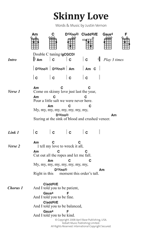 Skinny Love Sheet Music By Bon Iver Banjo Lyrics Chords 122888