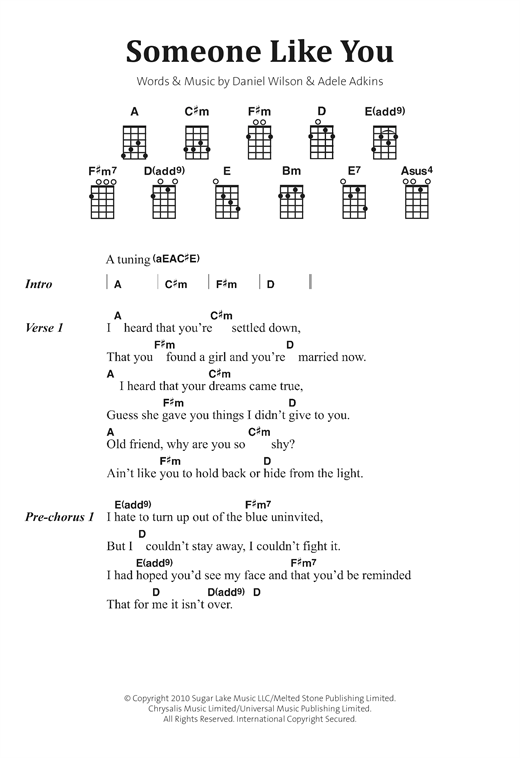 Someone Like You sheet music by Adele (Banjo Lyrics u0026 Chords u2013 122890)
