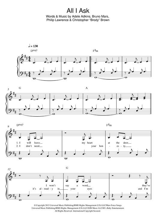 all i ask adele piano sheet music free