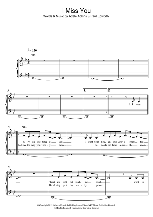 I Miss You (Easy Piano)