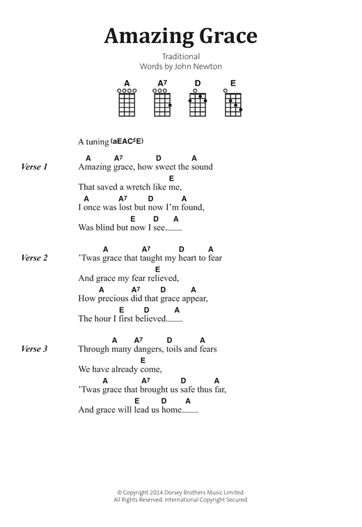 Ukulele : amazing grace ukulele chords Amazing Grace Ukulele Chords or Amazing Graceu201a Amazing ...