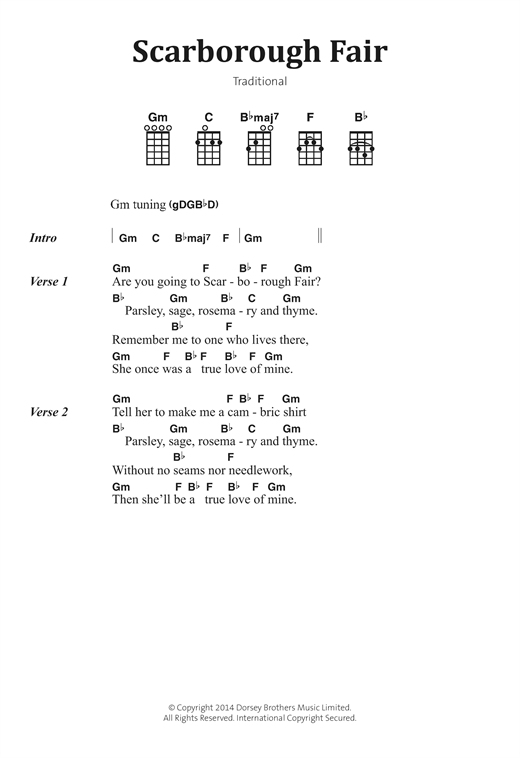 Scarborough Fair sheet music by Traditional (Banjo Lyrics & Chords ...