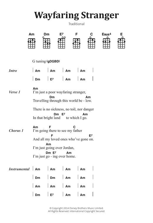 Wayfaring Stranger sheet music by Traditional Folksong (Banjo Lyrics ...
