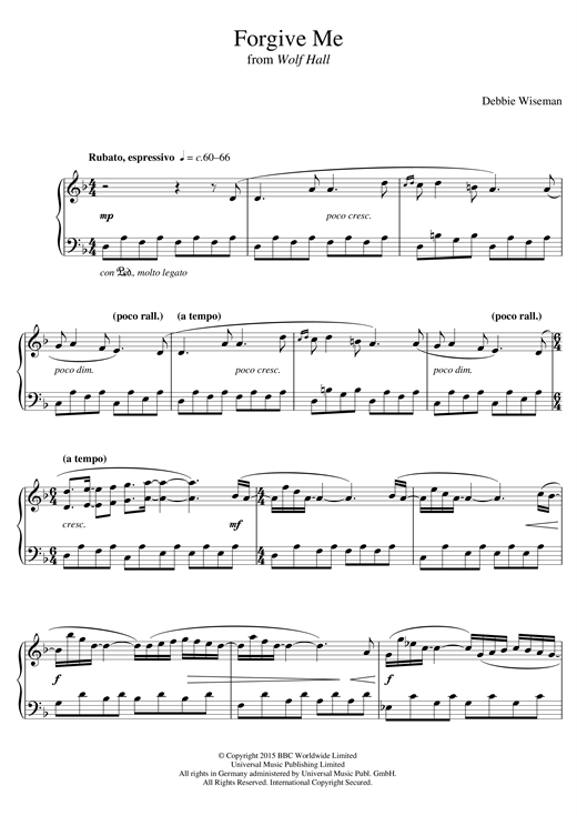 Partition piano Forgive Me (From 'Wolf Hall') de Debbie Wiseman - Piano Solo