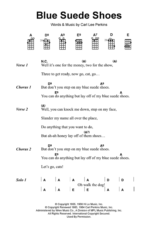Elvis Presley Blue Shoes Chords