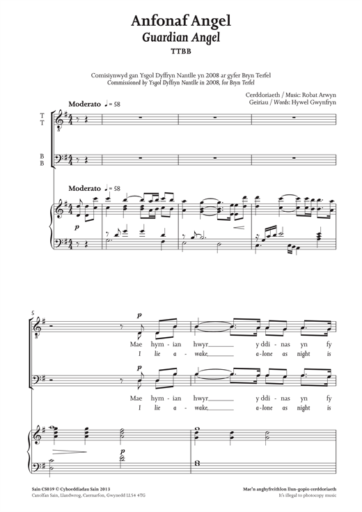 Anfonaf Angel (Guardian Angel) Sheet Music