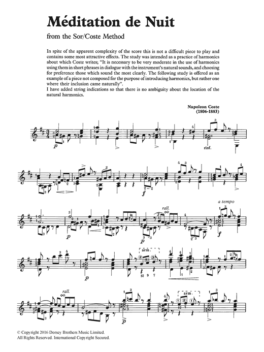 Meditation De Nuit Sheet Music