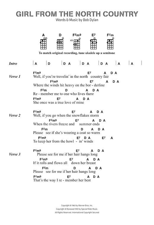 Girl From The North Country sheet music by Bob Dylan (Ukulele Lyrics ...